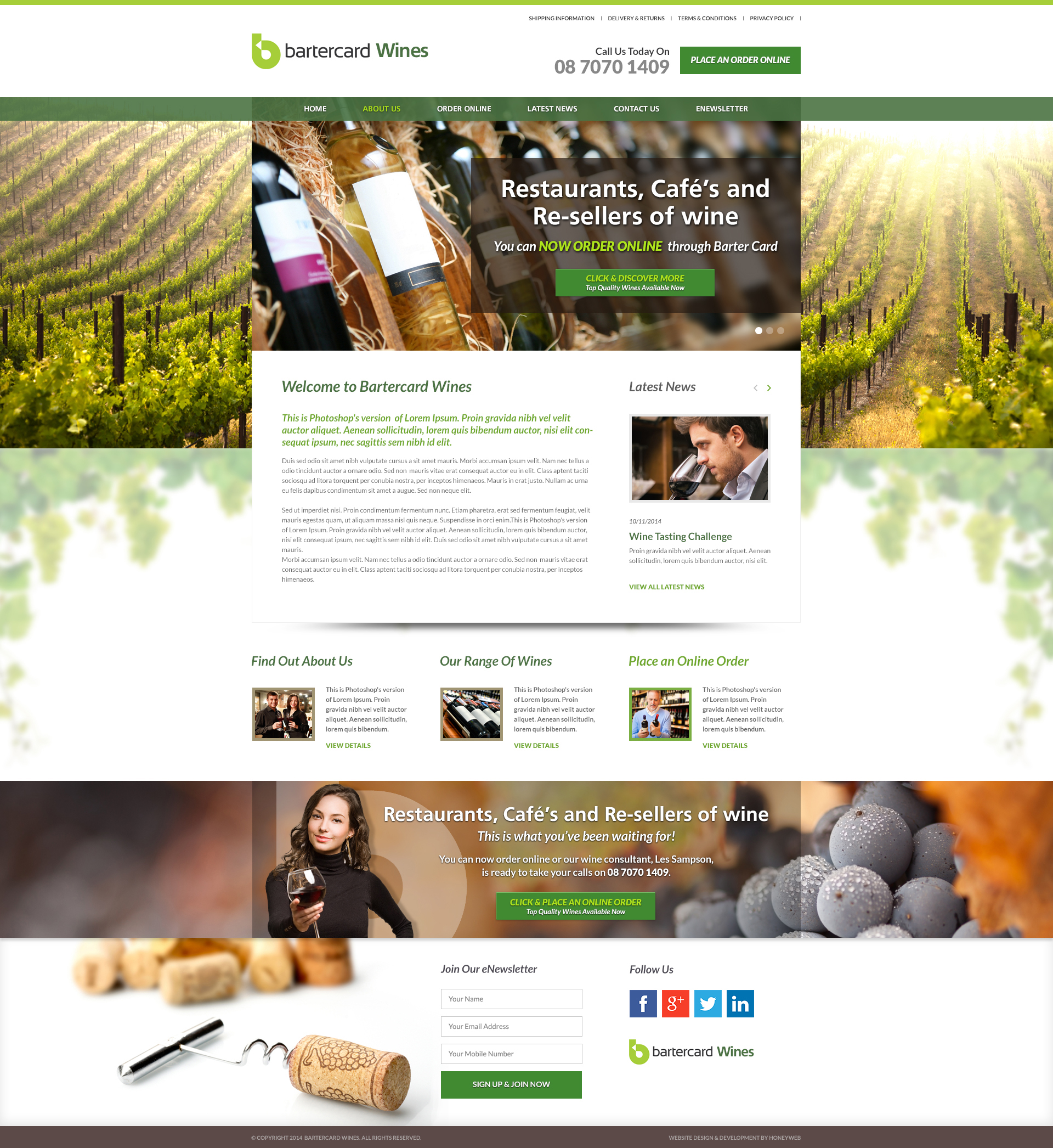Check out the NEW Bartercard Cellars Ecommerce Website Designed & Constructed by Honeyweb