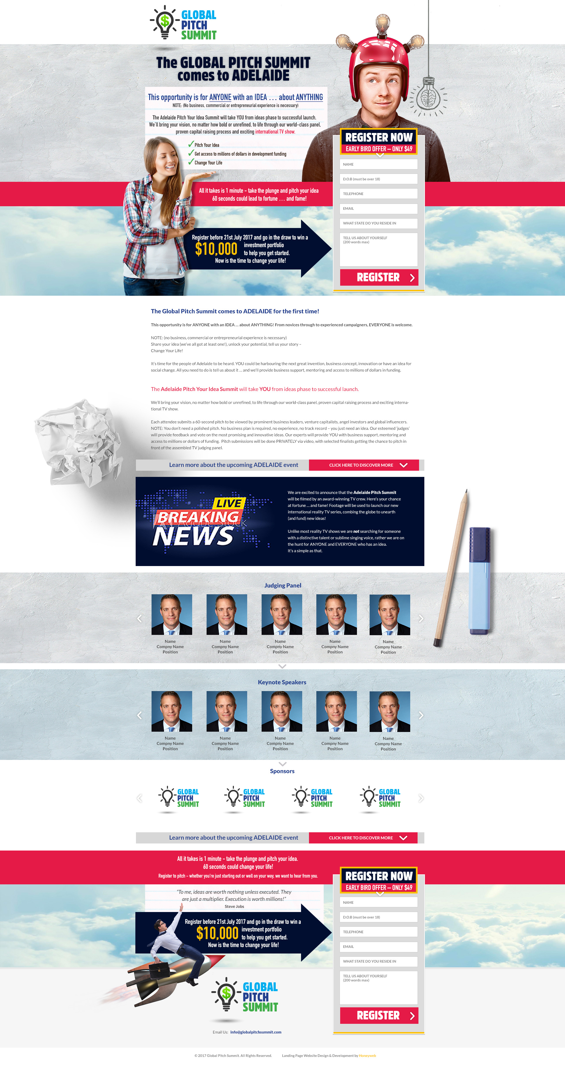 Check out the NEW Global Pitch Summit Landing Page Website Designed & Constructed by Honeyweb Online Marketing Solutions