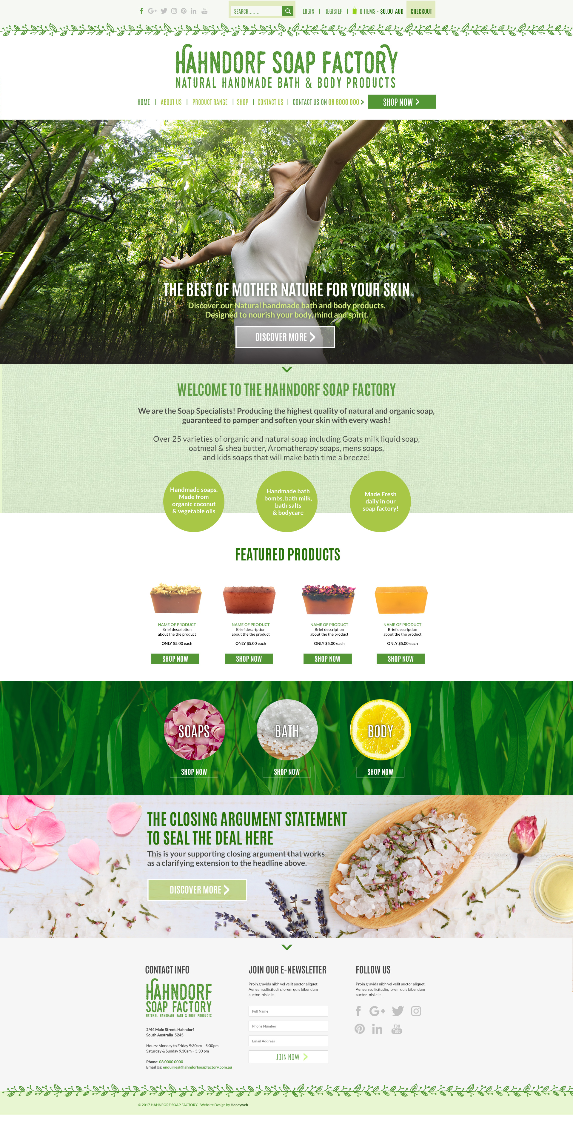 Check out the NEW Hahndorf Soap Factory Ecommerce Website Designed & Constructed by Honeyweb Online Marketing Solutions