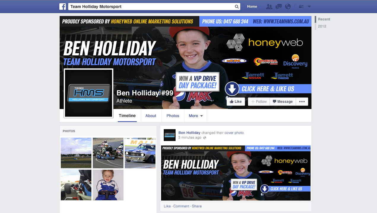 Check out the NEW Ben Holliday #99 (Team Holliday Motorsport) Facebook Page Designed & Constructed by Honeyweb