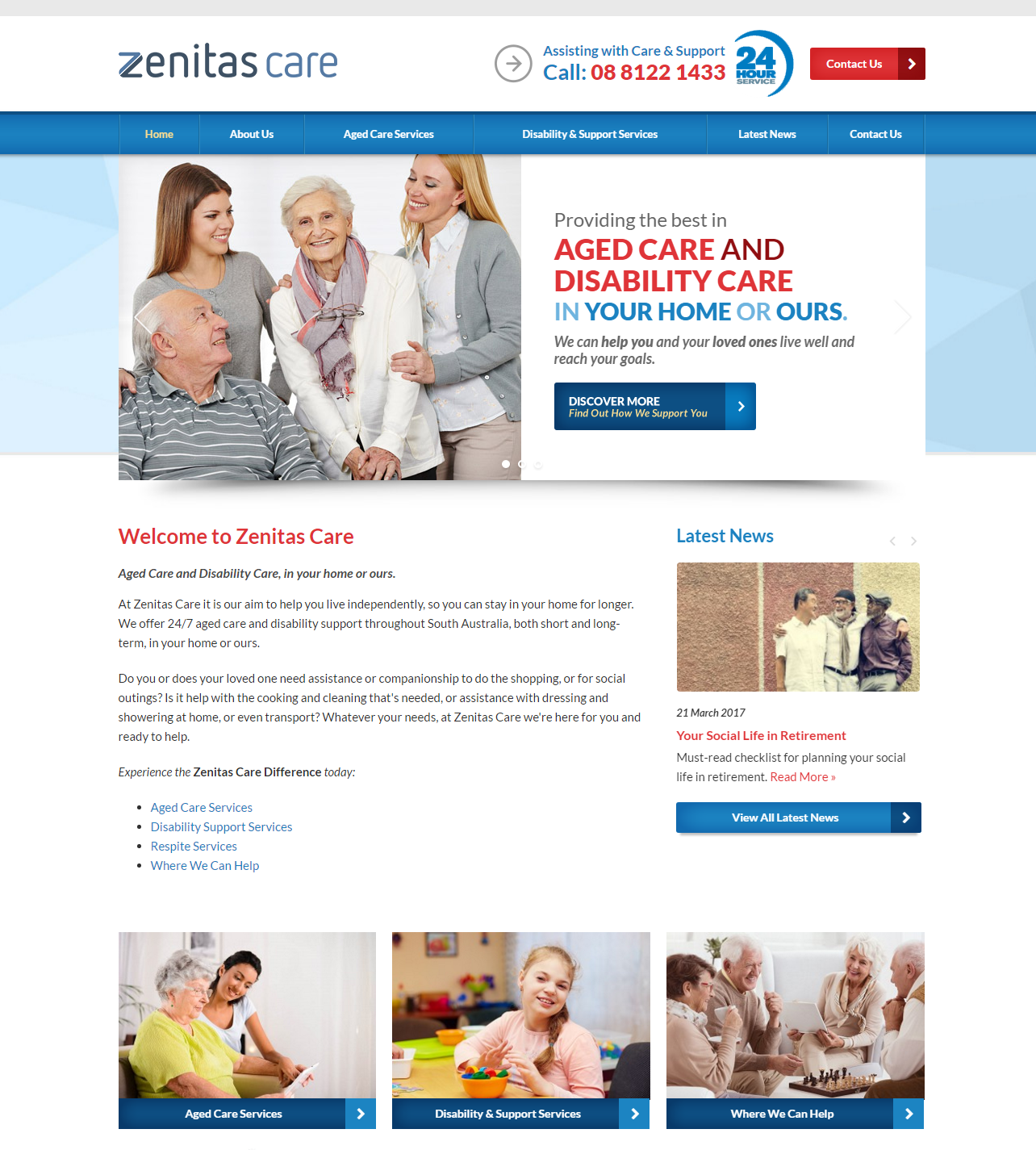 Check out the NEW Zenitas Care Website Designed & Constructed by Honeyweb Online Marketing Solutions