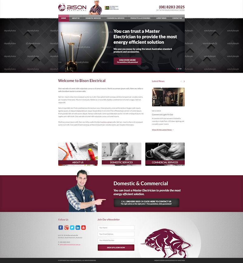Check out the new Bison Electrical Website Designed & Constructed by Honeyweb