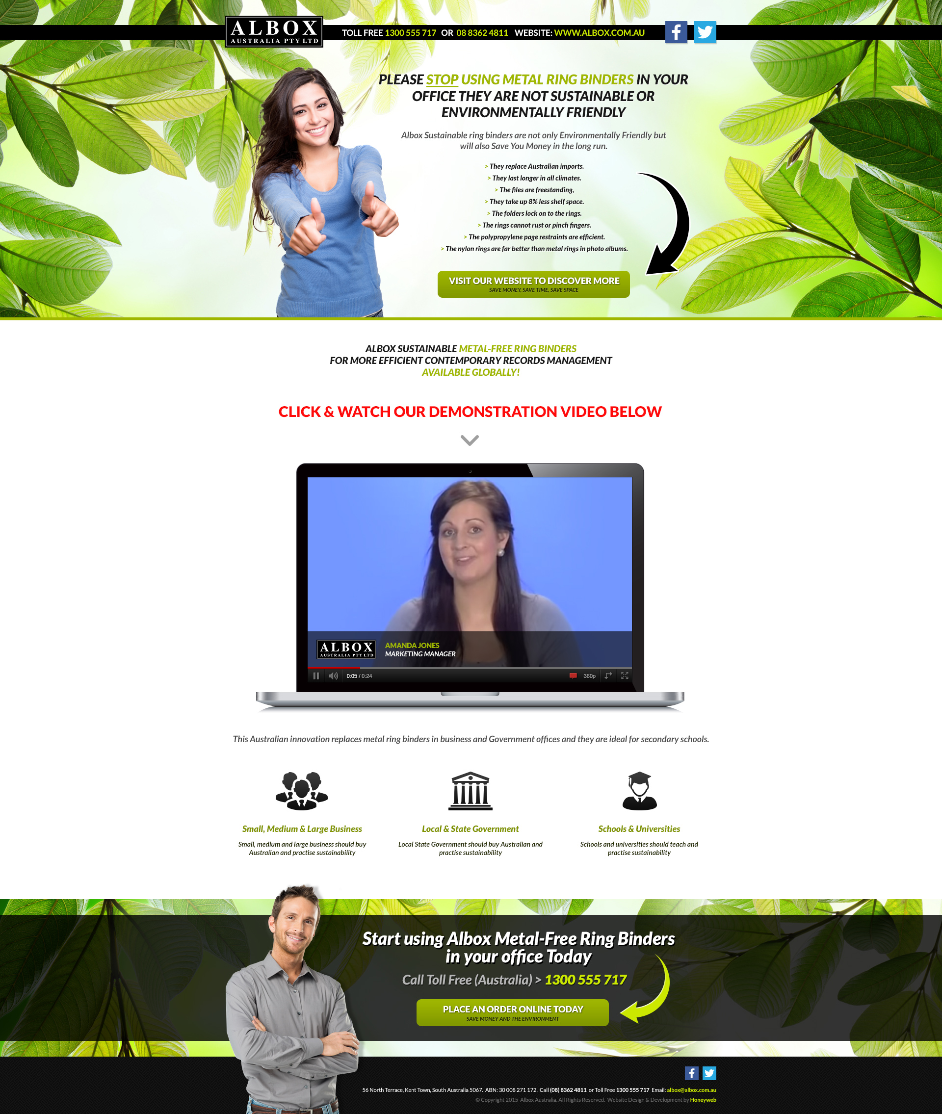 Check out the NEW Albox Australian (Sustainable Ring Binders) landing Page Website Designed & Constructed by Honeyweb