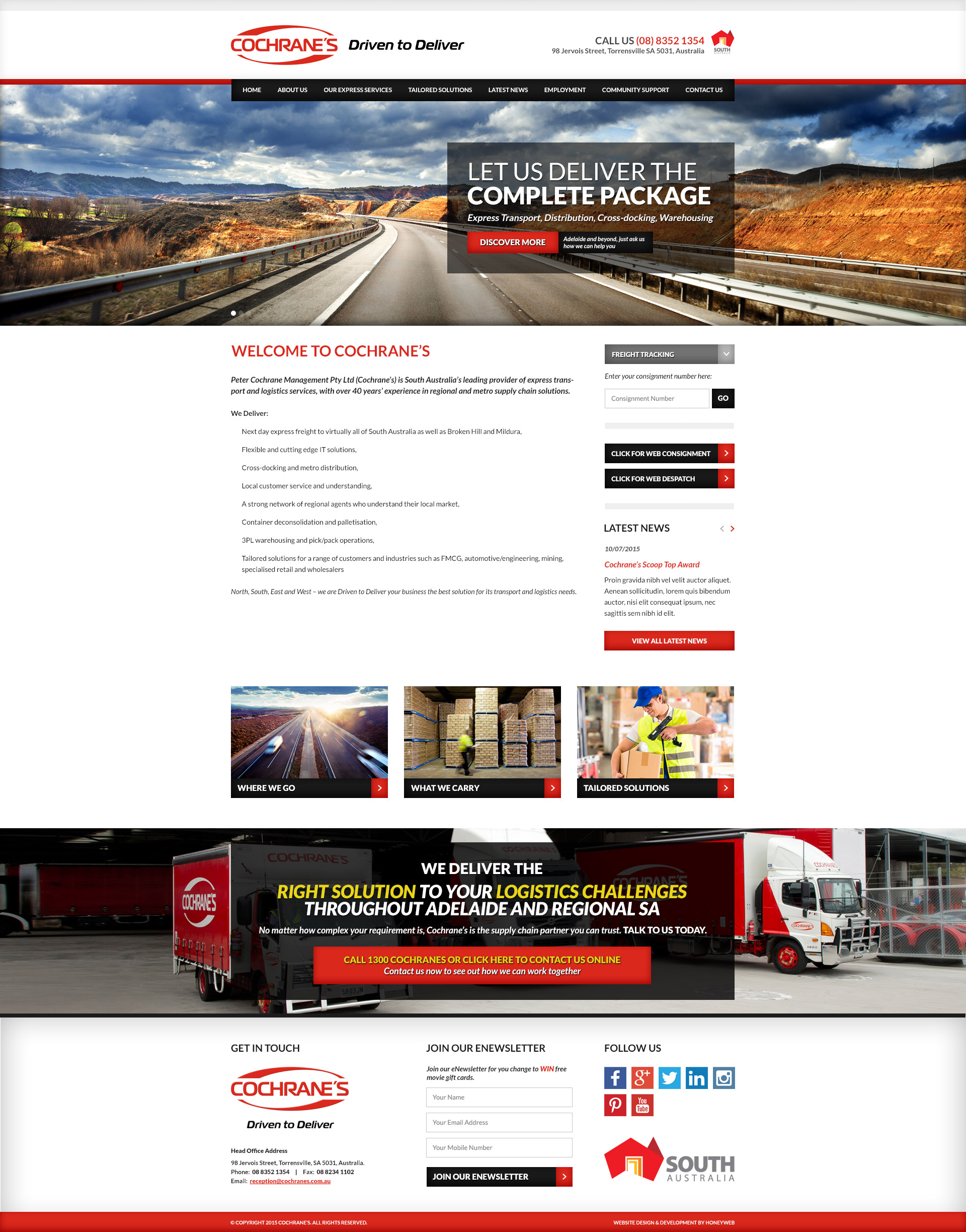 Check out the NEW Cochranes Website Designed & Constructed by Honeyweb