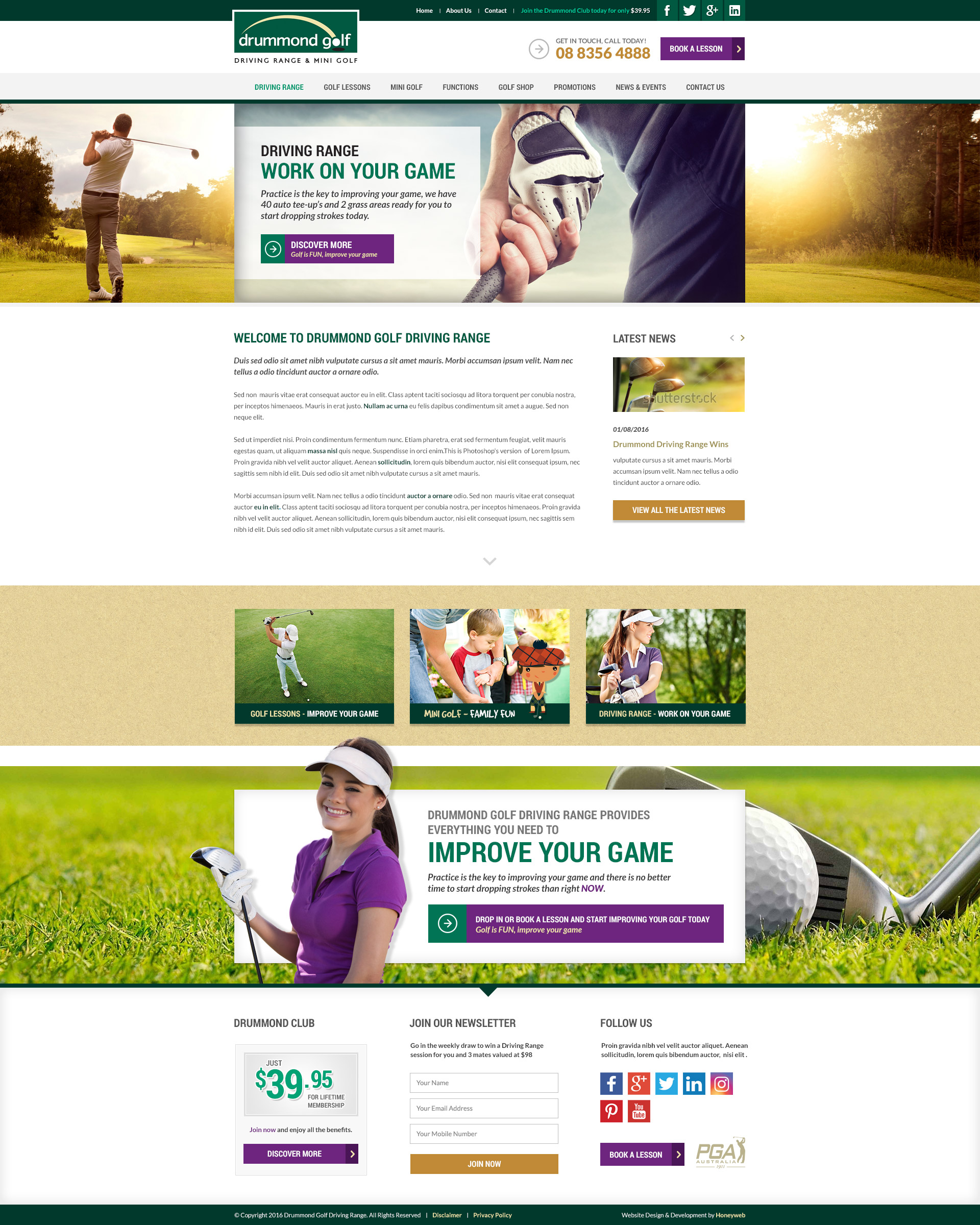 Check out the NEW Drummond Golf Driving Range and Mini Golf Website Designed & Constructed by Honeyweb Online Marketing Solutions