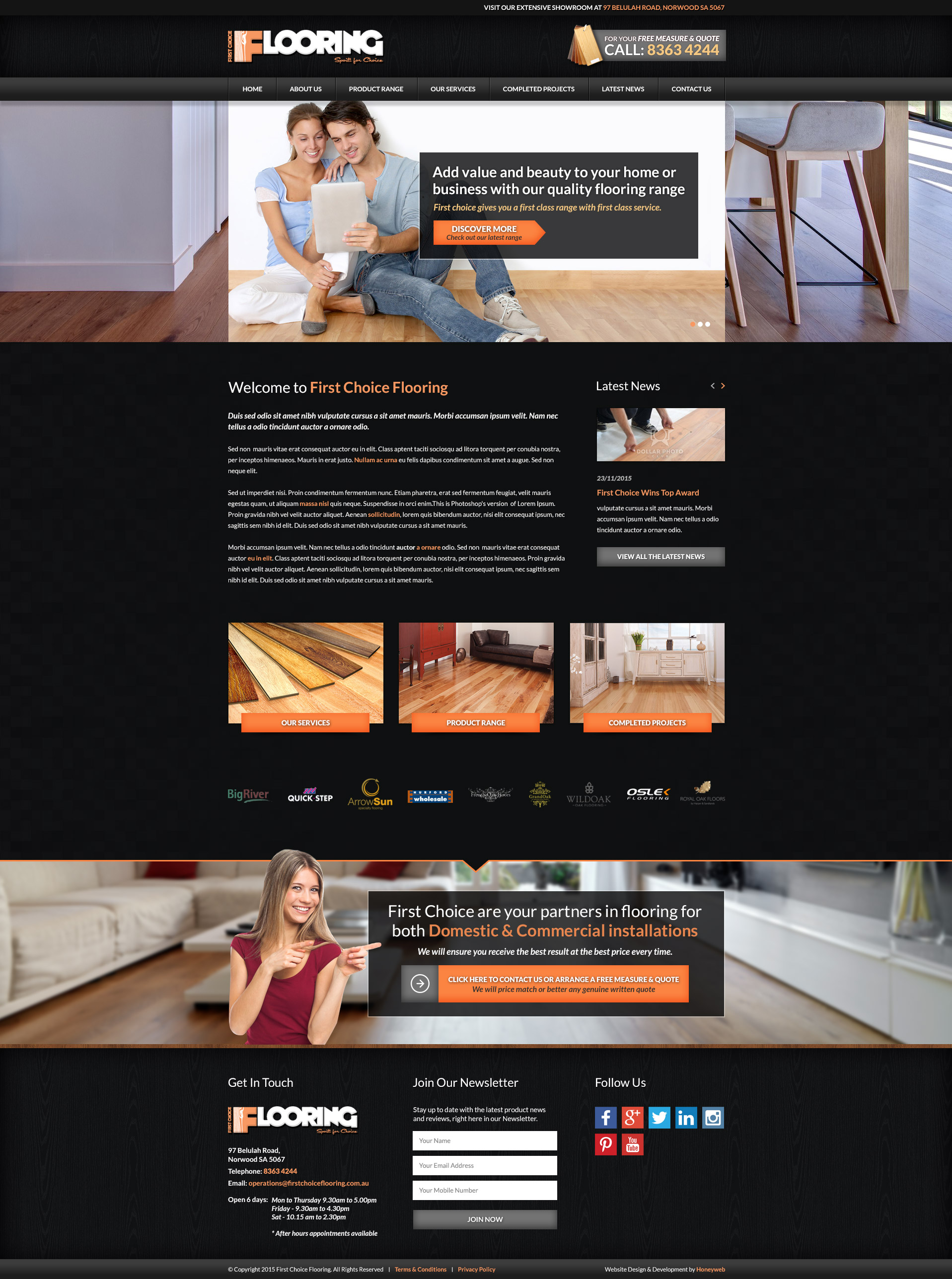 Check out the NEW First Choice Flooring Website Designed & Constructed by Honeyweb