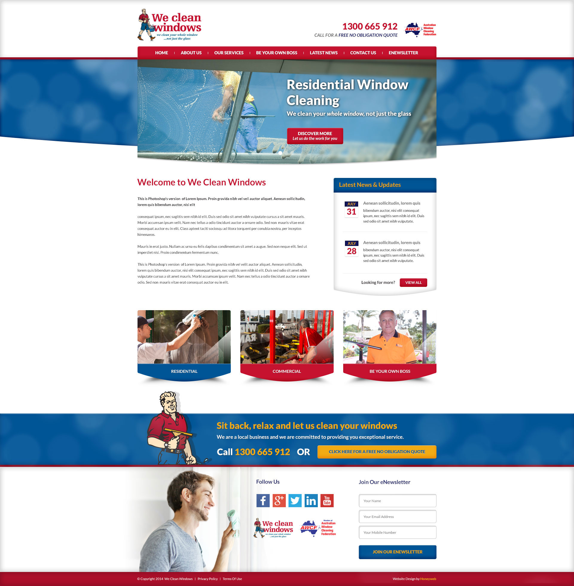 Check out the new We Clean Windows Website Designed & Constructed by Honeyweb