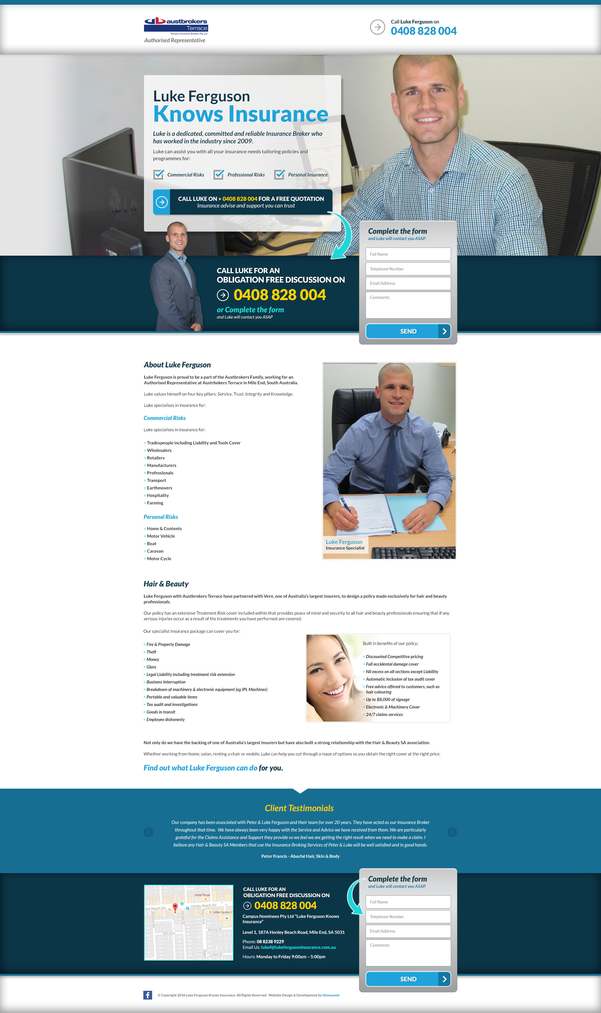 Check out the NEW Luke Ferguson Knows Insurance Landing Page Website Designed & Constructed by Honeyweb Online Marketing Solutions