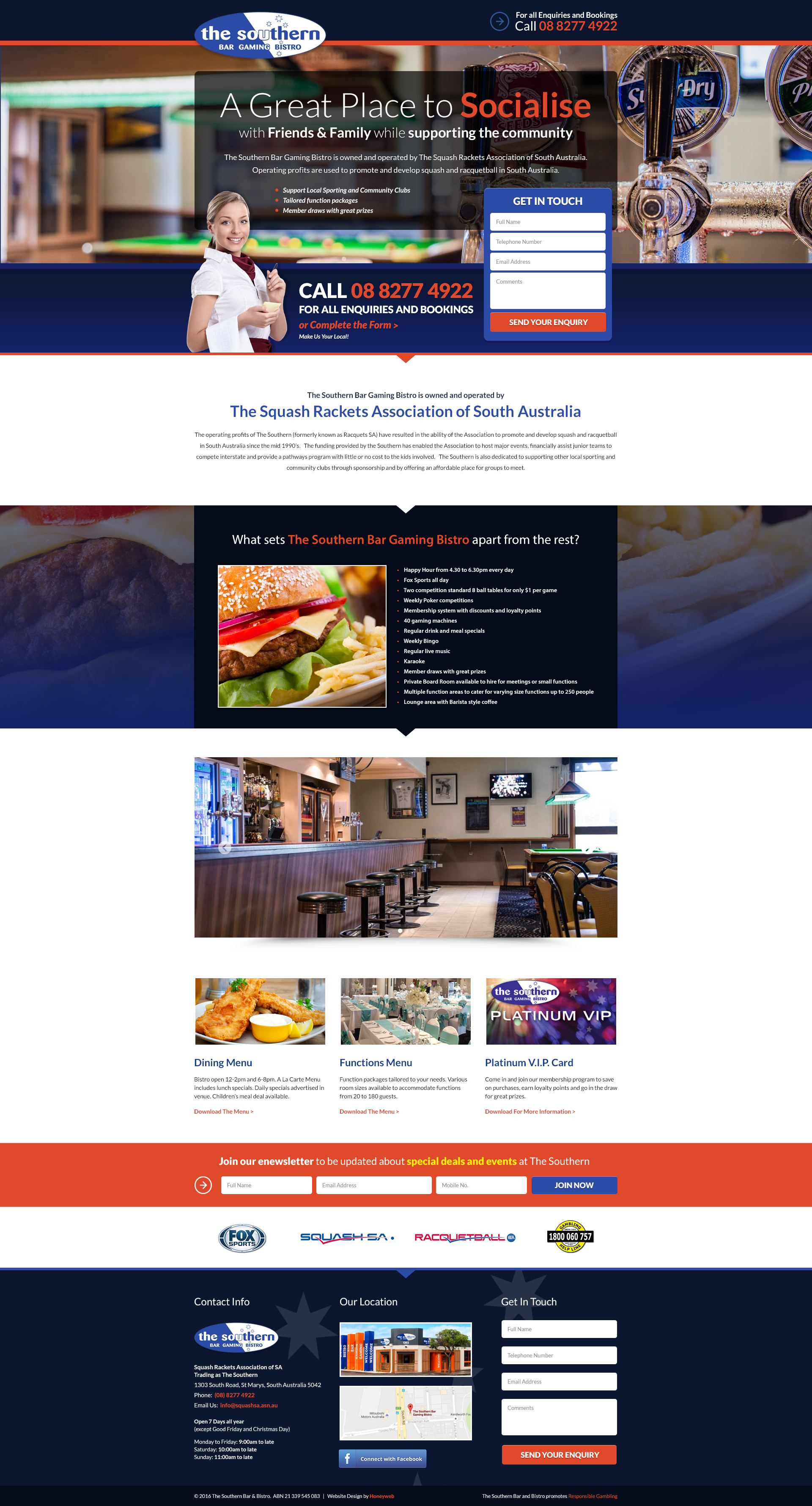 Check out the NEW Southern Bar & Bistro Landing Page Website Designed & Constructed by Honeyweb Online Marketing