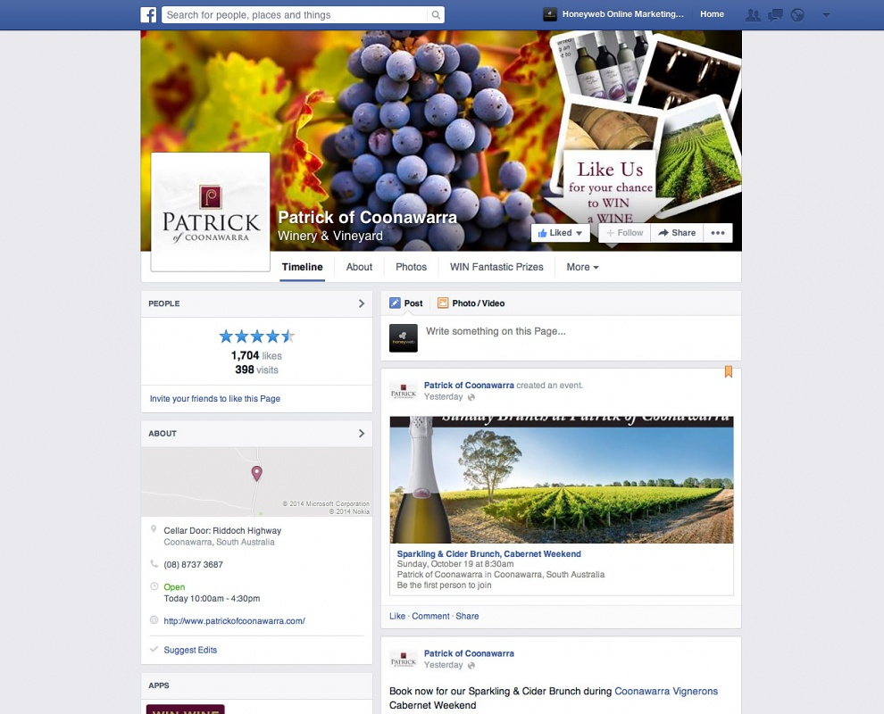 Patrick of Coonawarra - Facebook Business Pages