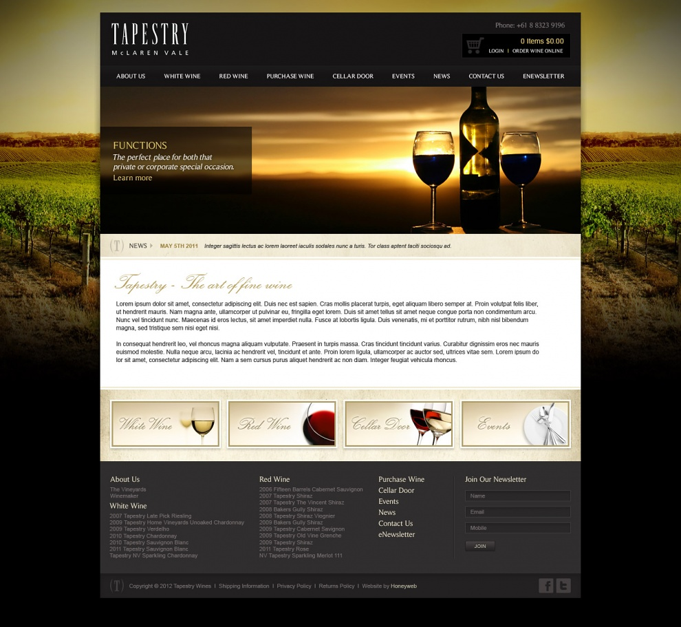 Tapestry Wines - Website Design