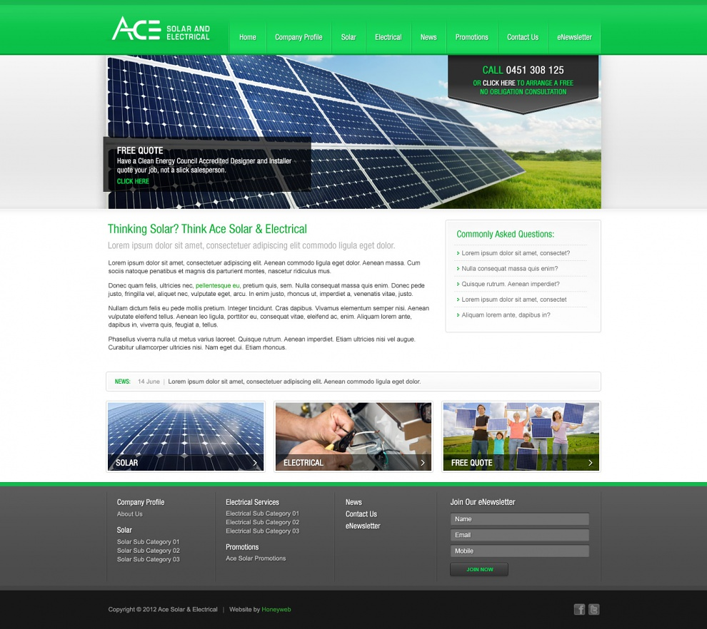 Ace Solar & Electrical - Website Design
