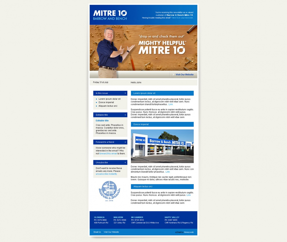 Barrow & Bench Mitre 10 - Email Marketing