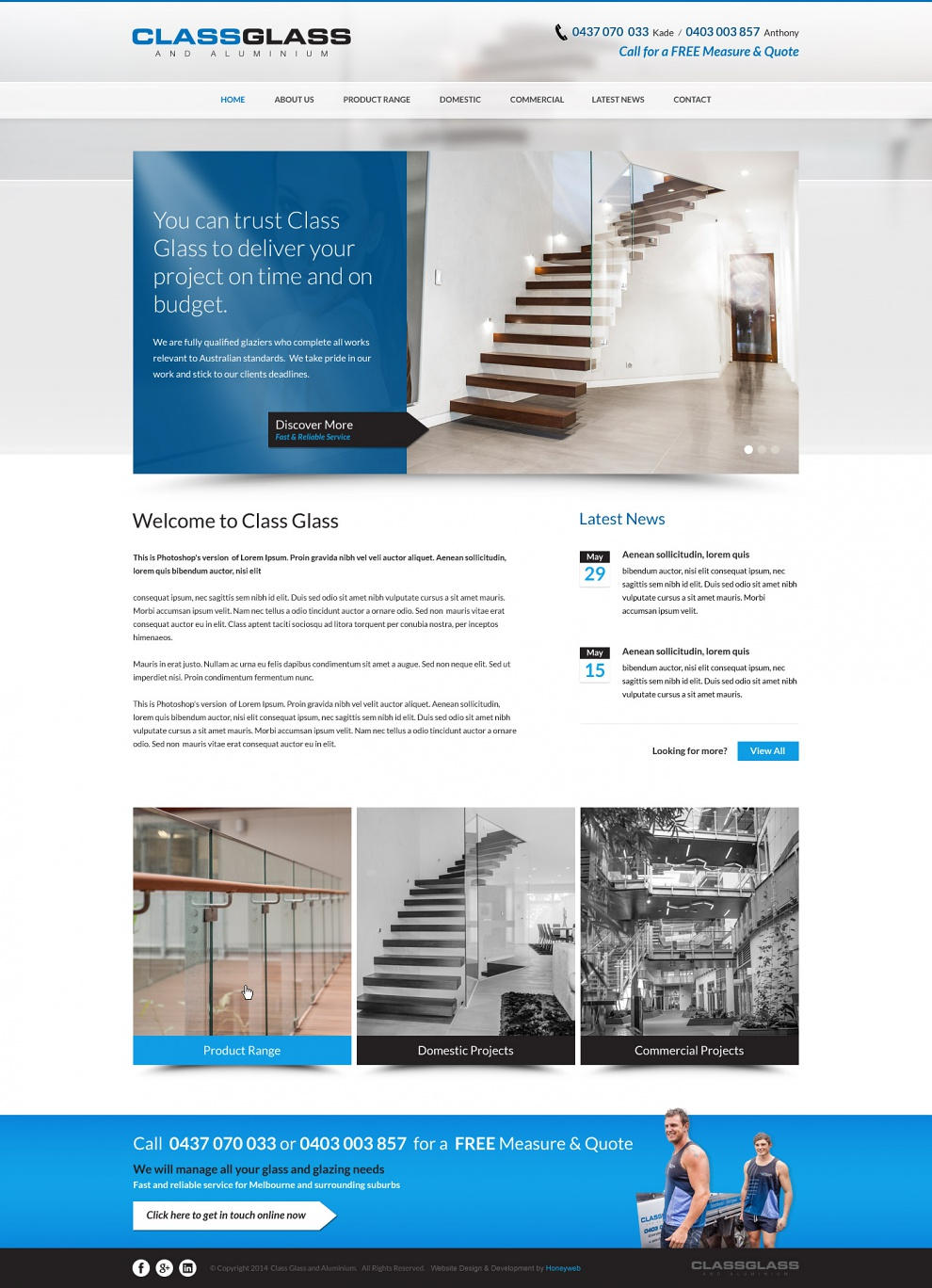 Class Glass & Aluminium - Website Design