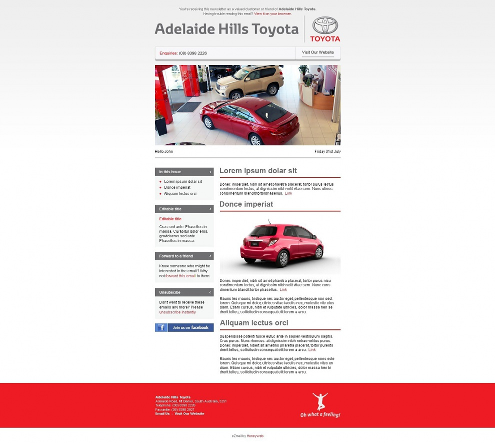 Adelaide Hills Toyota - Email Marketing