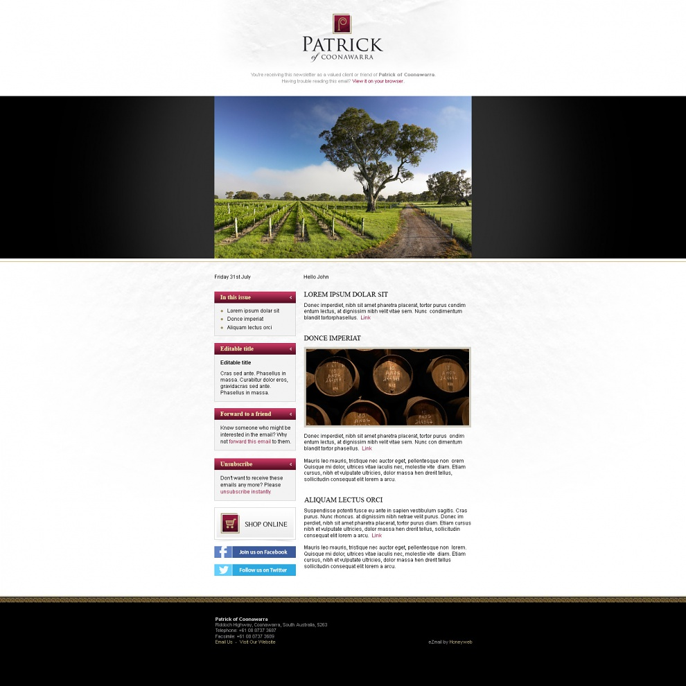 Patrick of Coonawarra - Email Marketing