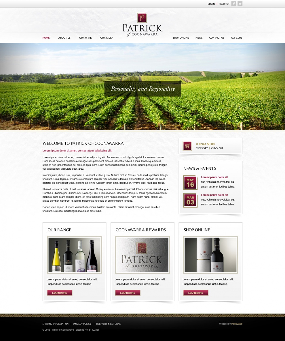 Patrick of Coonawarra - Website Design