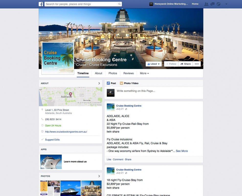 Cruise Booking Centre - Facebook Business Pages