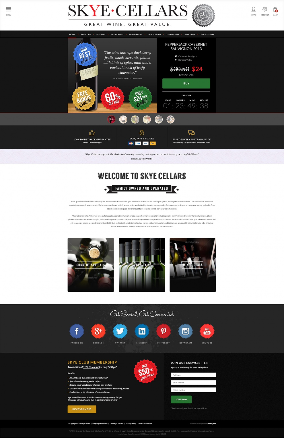 Skye Cellars - Website Design