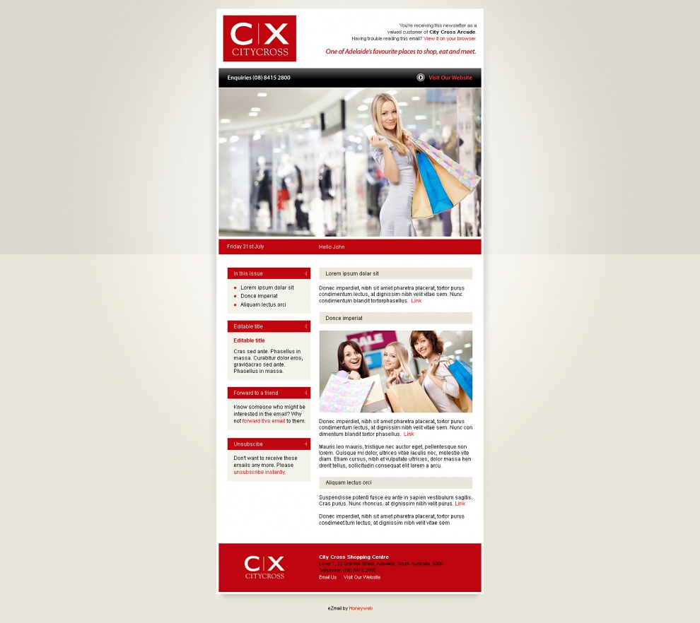 City Cross Shopping Centre - Email Marketing