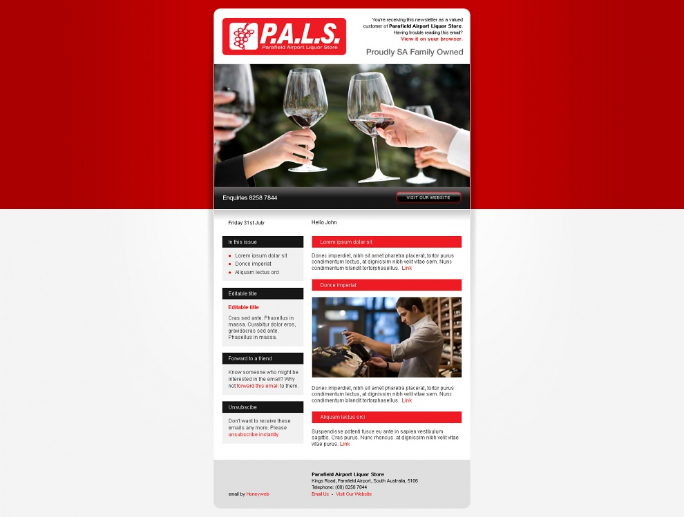 Parafield Airport Liquor Store - Email Marketing